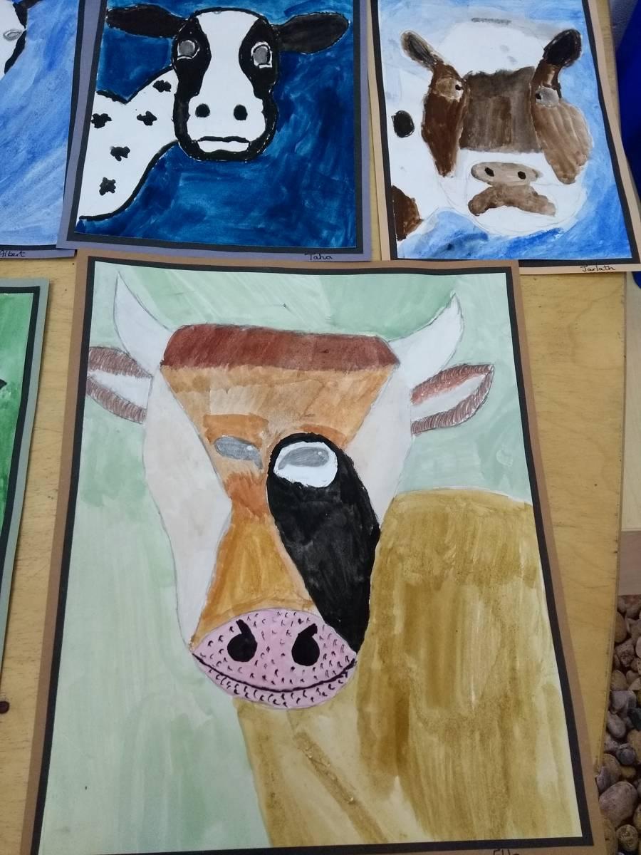 Cow Portraits Eleanor Palmer Primary School