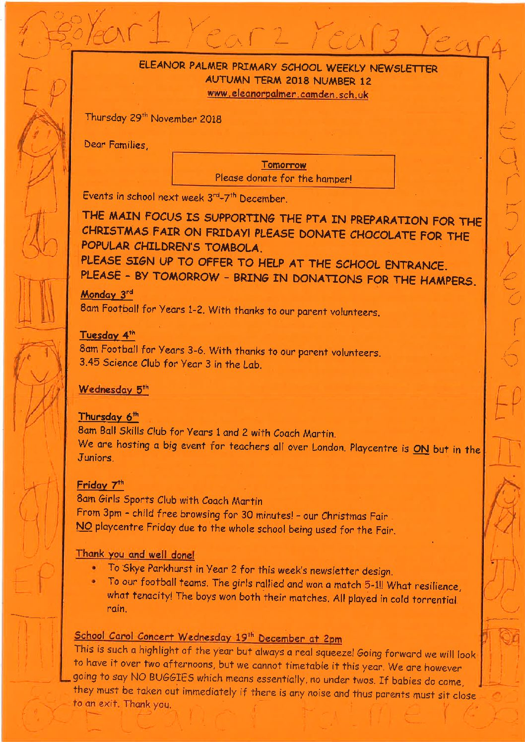 Newsletters - Eleanor Palmer Primary School